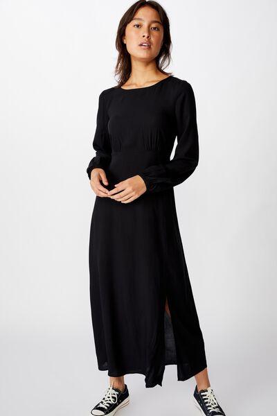 Woven Rach Split Maxi Dress, BLACK