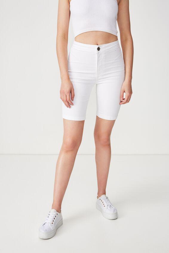 High Rise Denim Bike Short, WHITE