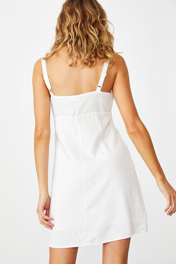 Woven Layla Tie Front Mini Dress, WHITE
