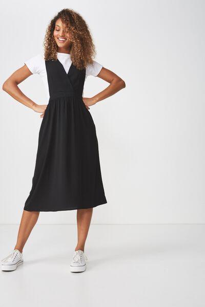 Woven Poppy Pinafore Dress, BLACK