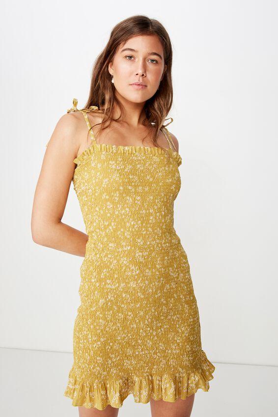 Woven Lou Shirred Mini Dress, ALICE DITSY GOLDEN PALM