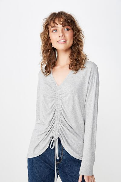 Ashy Rouched Front Long Sleeve Top, GREY MARLE