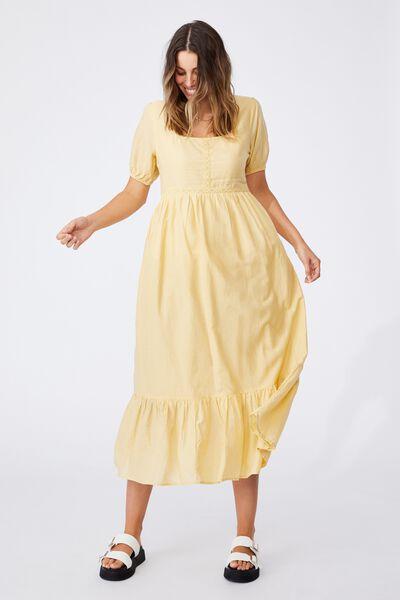 Woven Vivian Puff Sleeve Lace Trim Maxi Dress, GOLDEN HOUR YELLOW