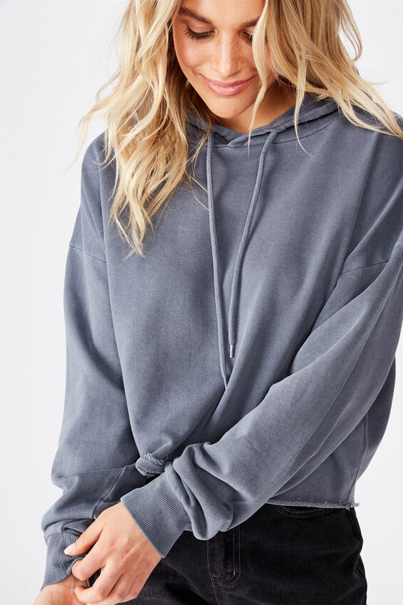 Mila Graphic Chopped Hoodie, GRISALLE GARMENT PIGMENT DYE