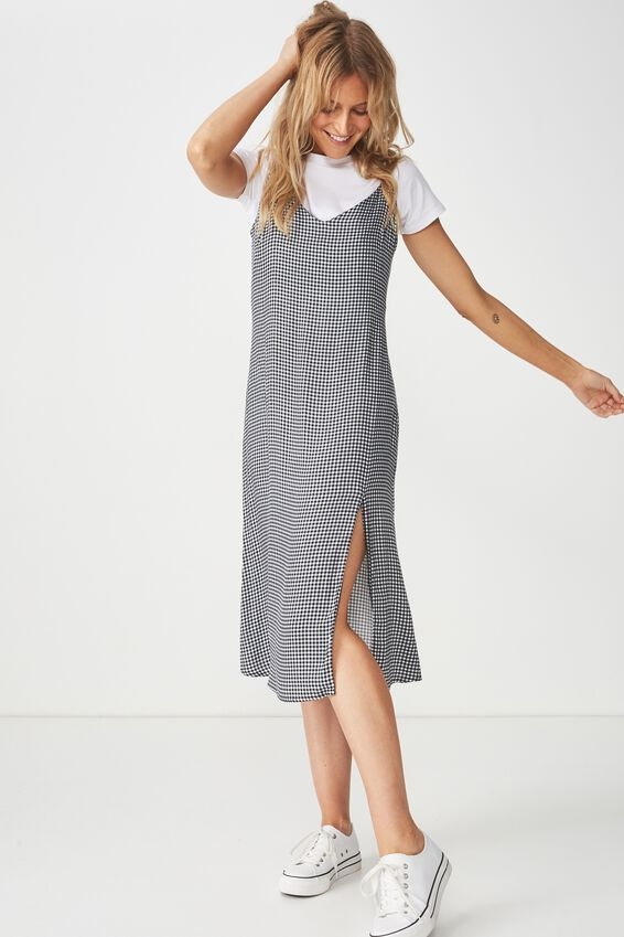 Woven Bloom Midi Slip Dress, DARIA CHECK