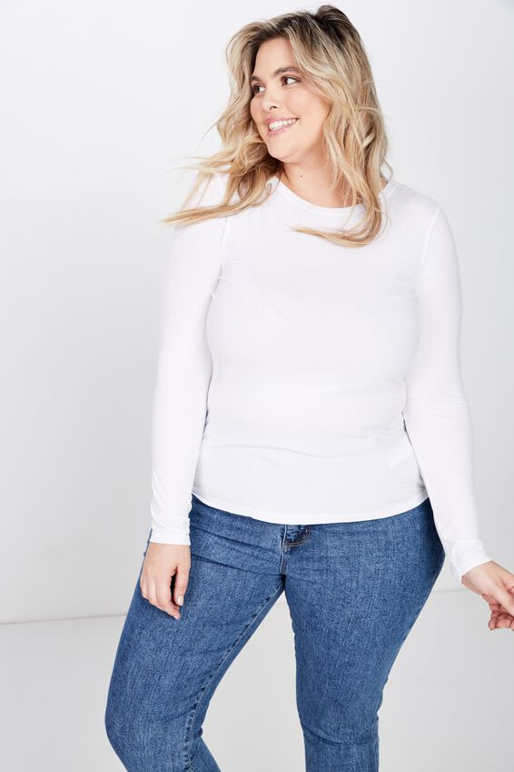 Curve Girlfriend Long Sleeve, WHITE