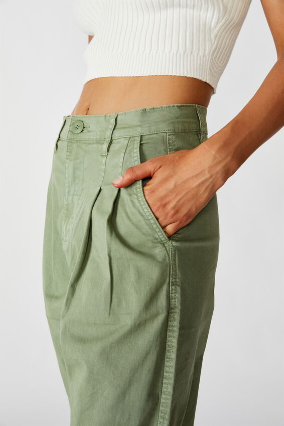 Hunter Pleated Pant, OIL GREEN