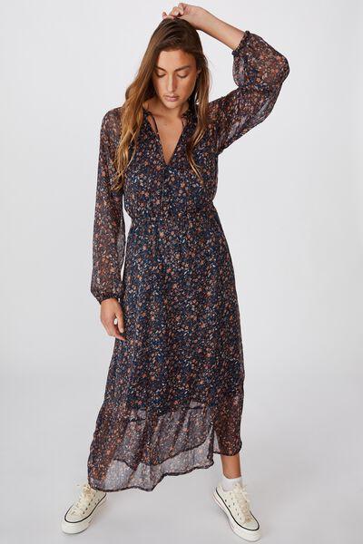 Woven Michelle Long Sleeve Maxi Dress, ALMA FLORAL MIDNIGHT NAVY