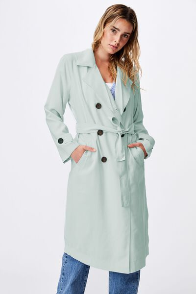Casual Drapey Trench, SOFT MINT