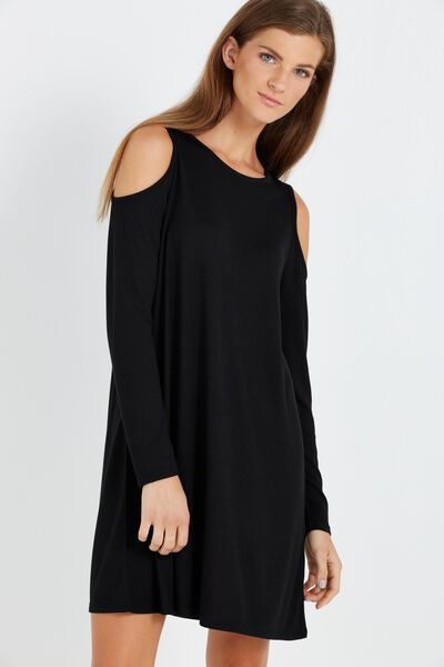 Lenni Long Sleeve Cold Shoulder Dress, BLACK