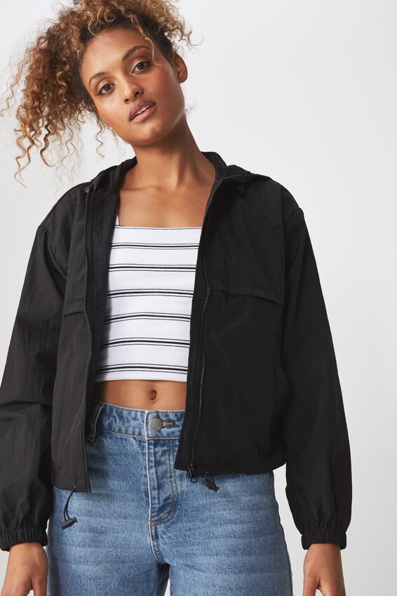 Tahlia Cropped Spray Jacket, BLACK
