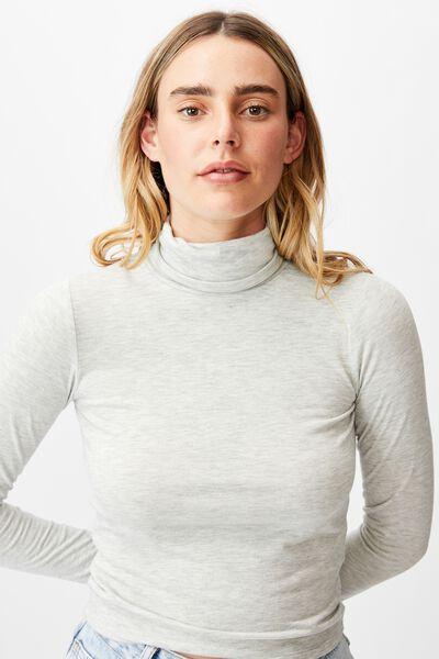 Basic Roll Neck Long Sleeve Top, LIGHT GREY MARLE