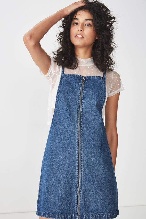 Faith Denim Pinafore Mini Dress, BLUE WASH