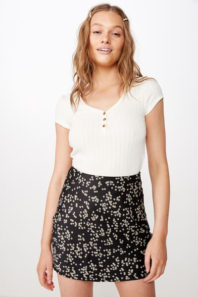 Woven Betty Bias Mini Skirt, ALICE DITSY BLACK