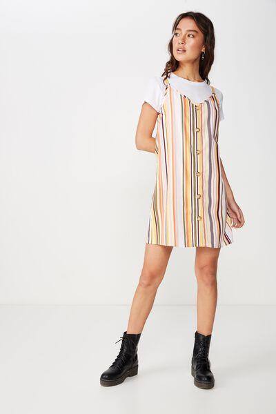 Woven Margot Slip Dress, BUTTON THROUGH TILLY STRIPE TAUPE