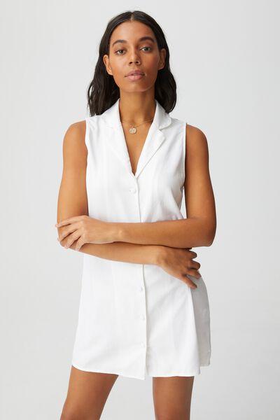 Woven Vicky Vest Mini Dress, WHITE