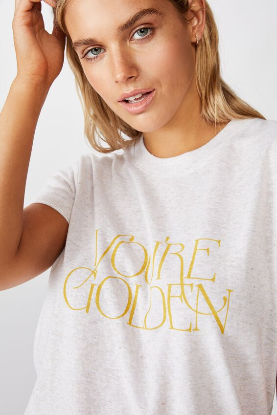 Classic Slogan T Shirt, YOU'RE GOLDEN/GARDENIA