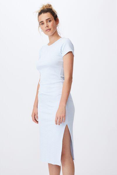 Essential Split Short Sleeve Midi Dress, EMILY STRIPE AUTHENTIC BLUE