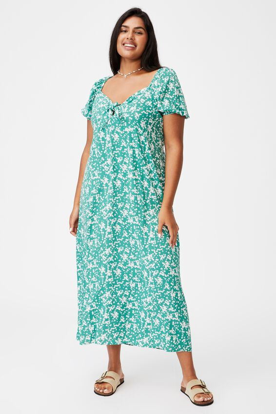 Curve Woven Casey Midi Dress, LENA DITSY HERITAGE GREEN