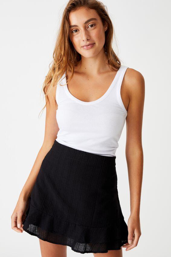 Sasha Frill Mini Skirt, BLACK