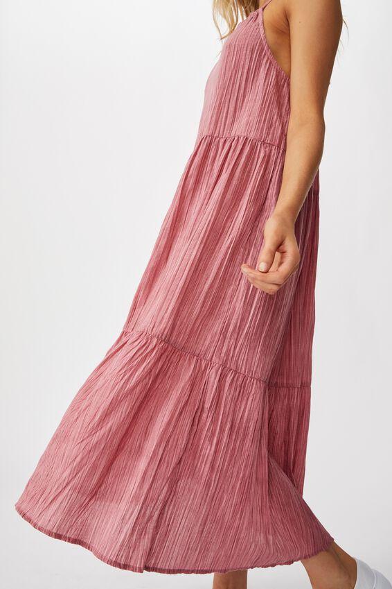Woven Poppy Ruffle Edge Frill Midi Dress, SUMMER CASSIS TEXTURE