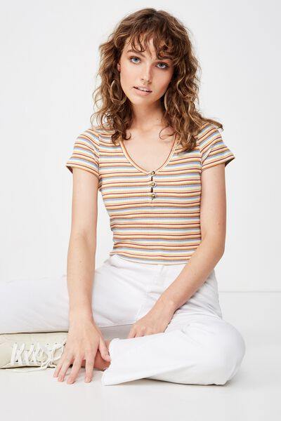 Lylah Henley Short Sleeve Top, HARNI STRIPE RUST TAN MULTI