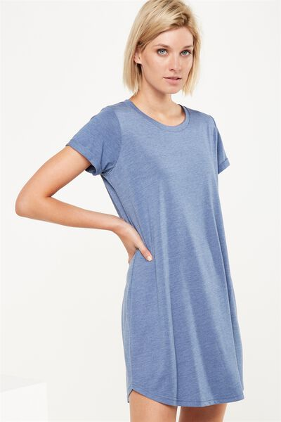Tina Tshirt Dress 2, CADET BLUE MARLE