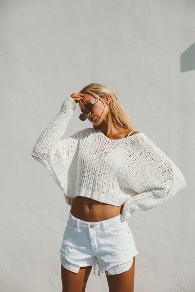 Cropped Open Knit Pullover, WHITE