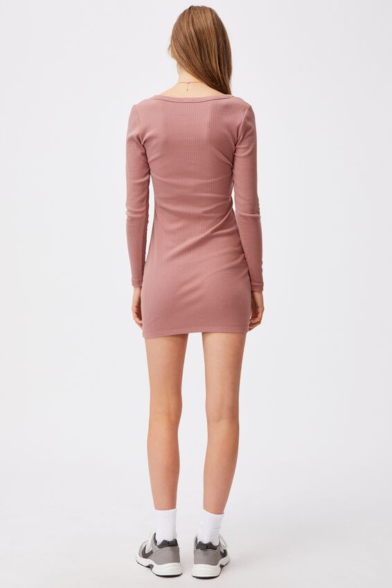 Heidi Long Sleeve Henley Mini Dress, ROSE TAUPE