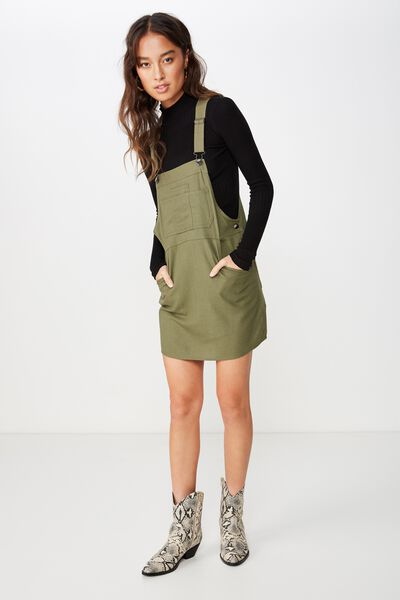 Woven Charlotte Pinafore, BURNT OLIVE