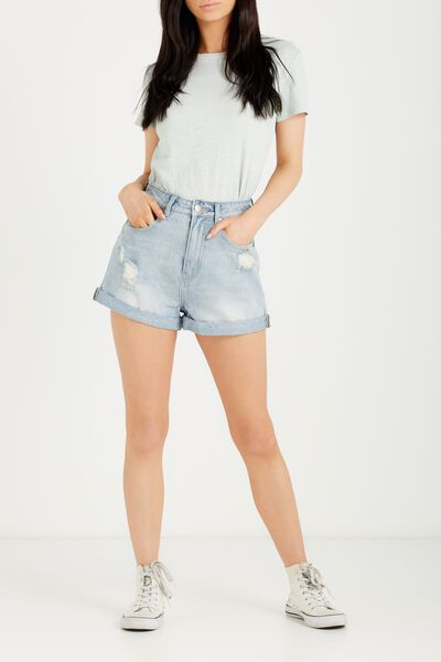High Rise Flashback Denim Short, WORN BLUE RIPS CUFFED