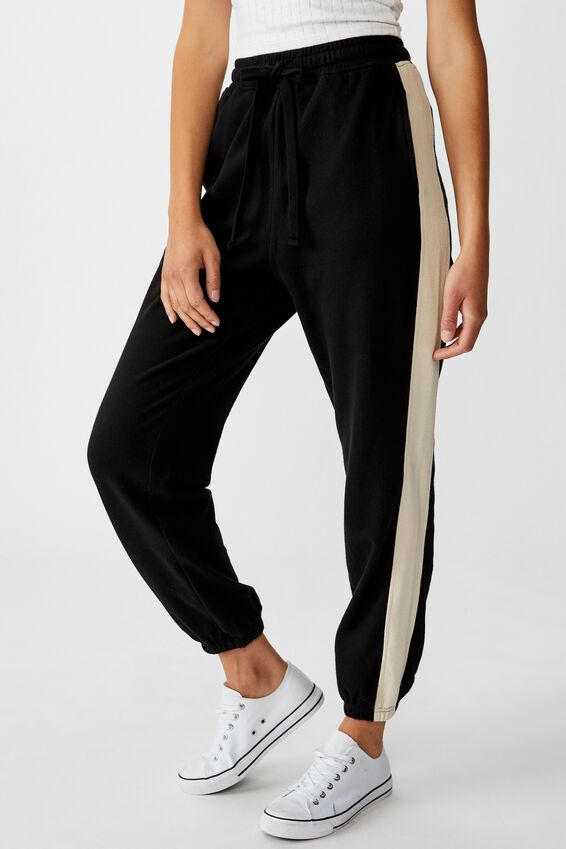High Waisted Trackpant, BLACK/SILVER LINING SIDE PANEL