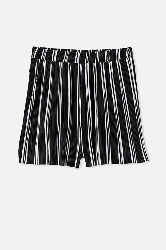 Pleated Skater Short, LORETTA STRIPE BLACK/WHITE