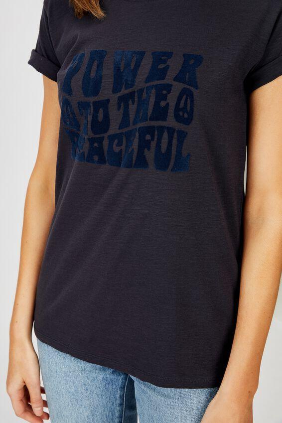 Classic Slogan T Shirt, POWER TO THE PEACEFUL/WASHED MOONLIGHT SLUB