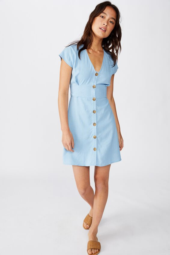 Woven Jenny Deep V Mini Dress, BONDI BLUE