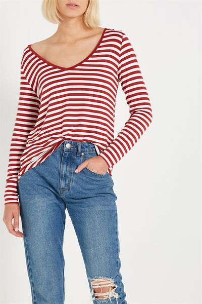 Keira Long Sleeve T Shirt, CARA STRIPE ROSEWOOD/WHITE