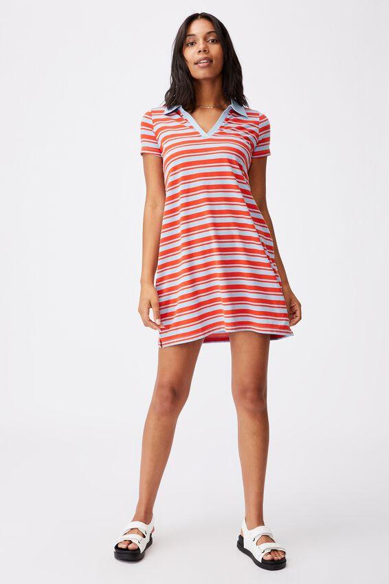 Tina Polo Tshirt Dress, JANET STRIPE AUTHENTIC BLUE