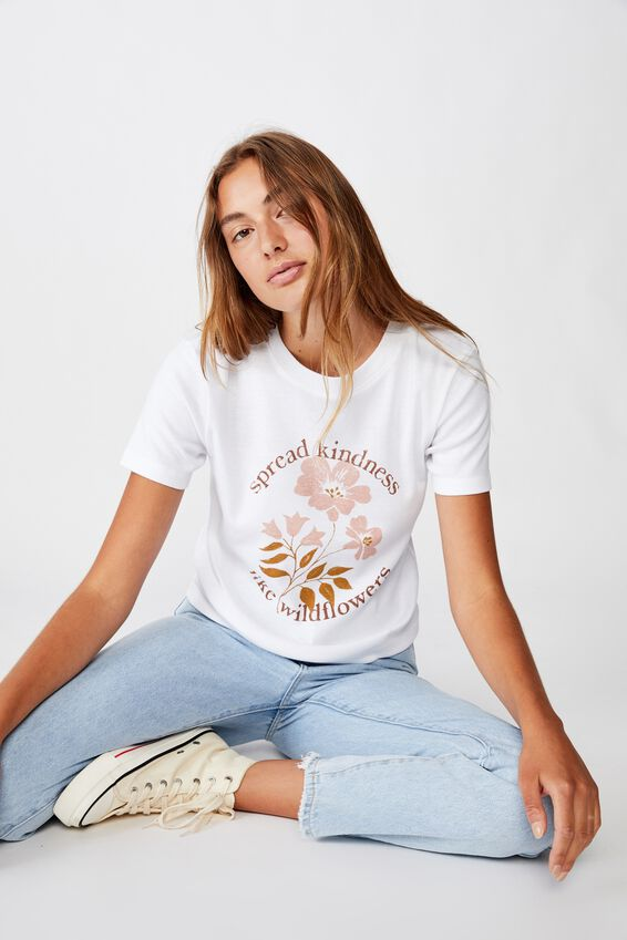 Essential Art T Shirt, SPREAD KINDNESS/WHITE