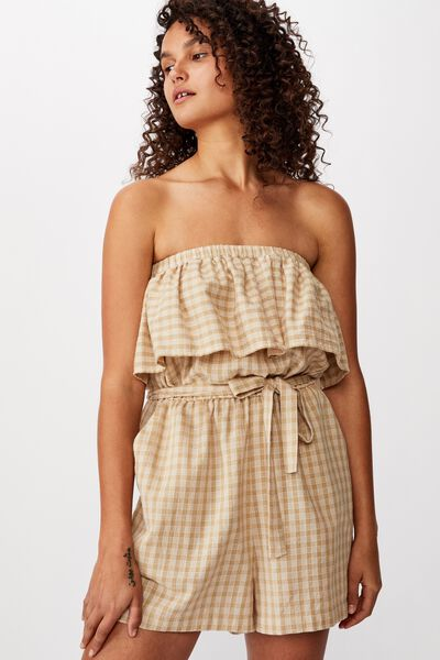 Woven Marley Off The Shoulder Playsuit, ANDI GINGHAM NEUTRAL