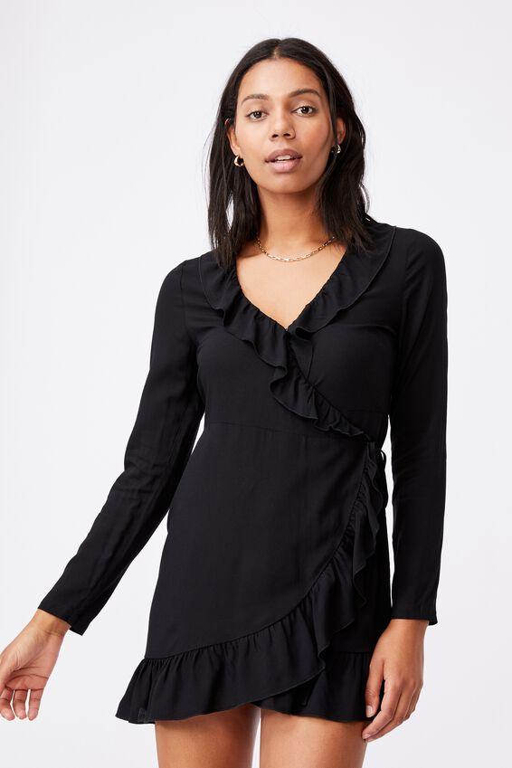 Woven Lillie Long Sleeve Ruffle Wrap Mini Dress, BLACK