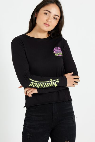 Tbar Long Sleeve Graphic Chop Tee, LCN SIMPSONS SQUISHY/BLACK