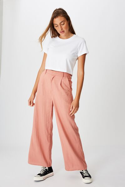 Pleat Front Drapey Pant, OLD ROSE