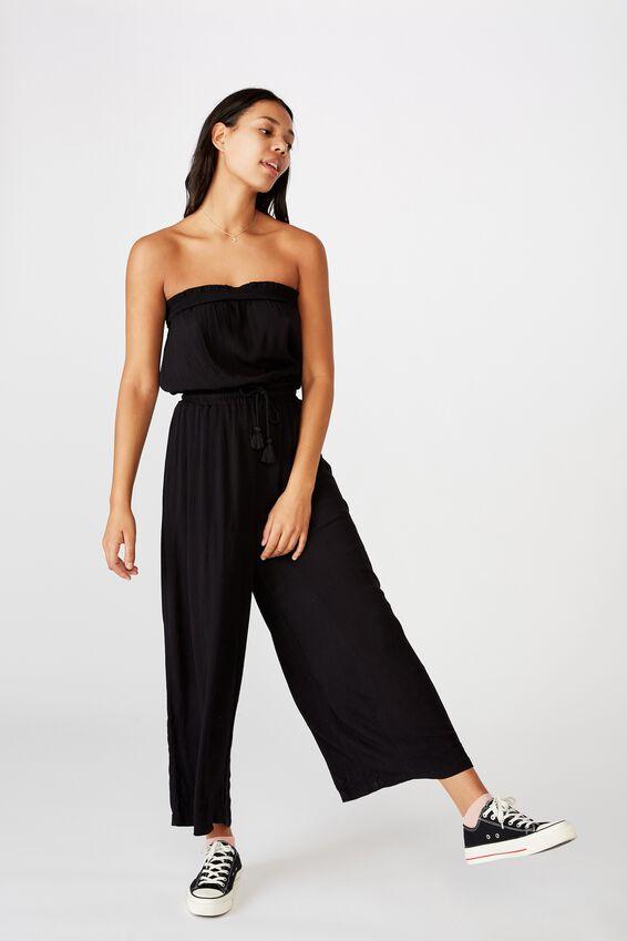 Woven Nicole Strapless Jumpsuit, BLACK