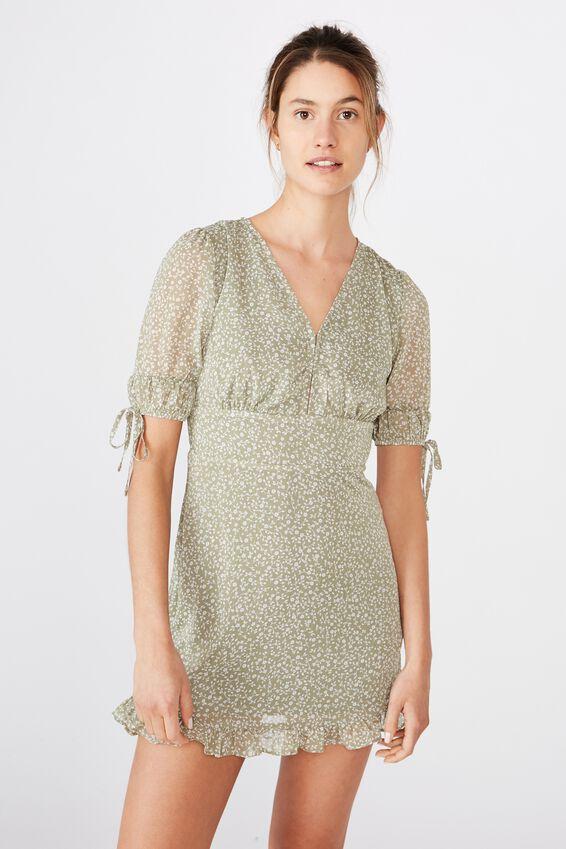 Woven Sandra 3/4 Mini Dress, INGRID DITSY OIL GREEN