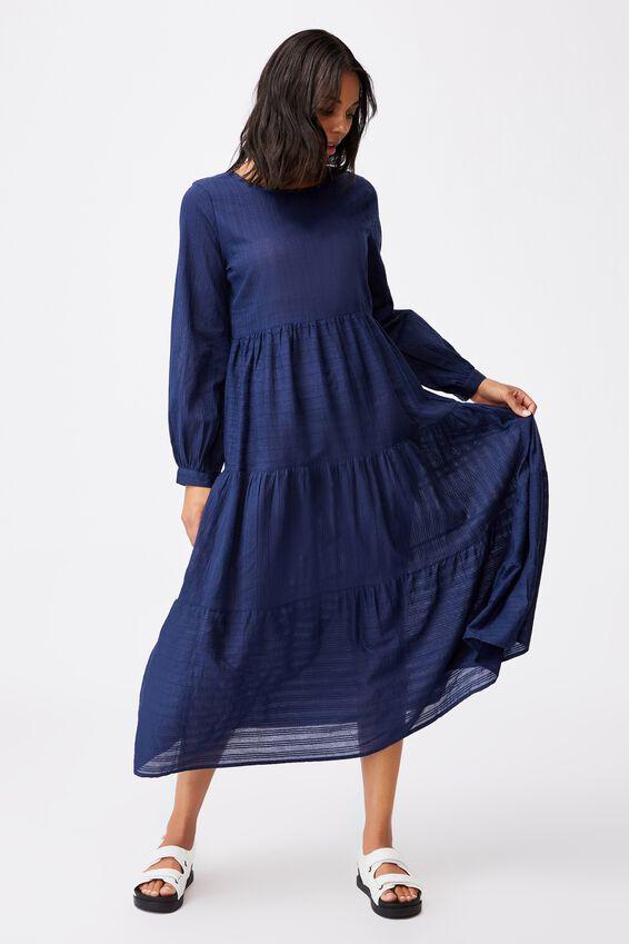 Woven Rebeka Tiered Maxi Dress, MEDIEVAL BLUE