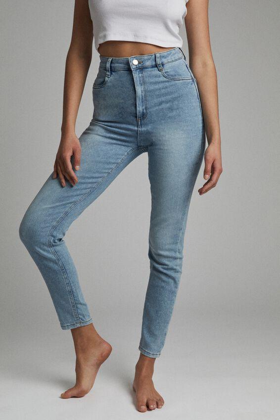 Ultra High Super Stretch Jean, BORA BLUE POCKETS