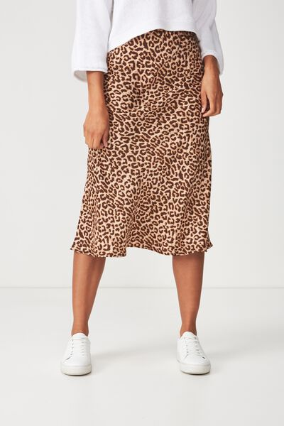 Woven Belle Bias Midi Skirt, SARAH LEOPARD TAN ELASTICATED