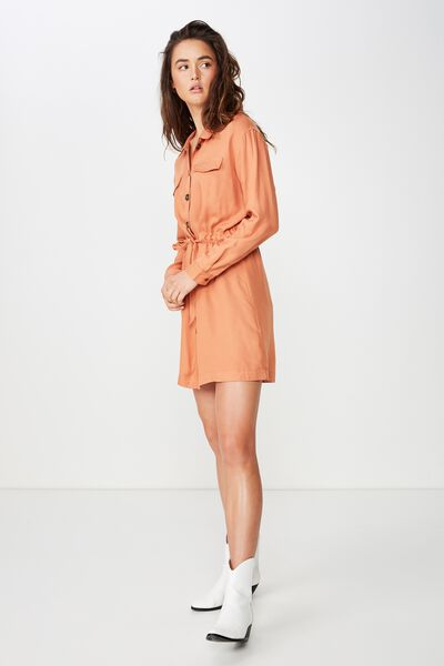 Woven Elle Long Sleeved Shirt Dress, SUNBURN