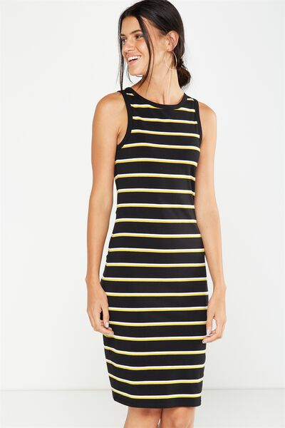 Lena Midi Dress, BLACK/WHITE/HONEY MUSTARD STRIPE