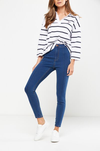High Rise Jegging, RETRO MID BLUE PINTUCK
